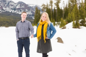 Bozeman Engagement Session - Couple posed on cold winter day in Hyalite Canyon