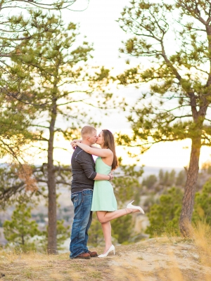 Billings Engagement Session on the Rims - Couple standing on edge of cliffs