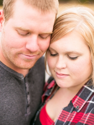 Bozeman Engagement Session - Couple close up shot with both looking down
