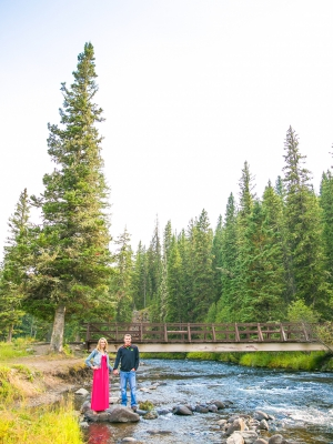 Bozeman Engagement Session - Couple in front of Langhor Campground bridge.