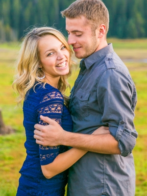 Bozeman Engagement Session in Hyalite - Couple's close embrace