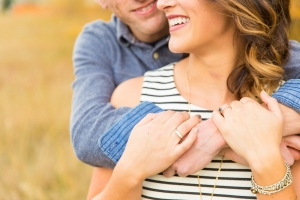 Bozeman Engagement Session - Close up of couple showing off wedding ring