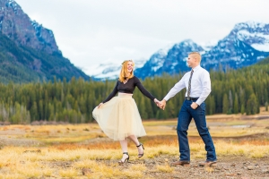 Bozeman Hyalite Engagement Session - Flower crown and toole dress