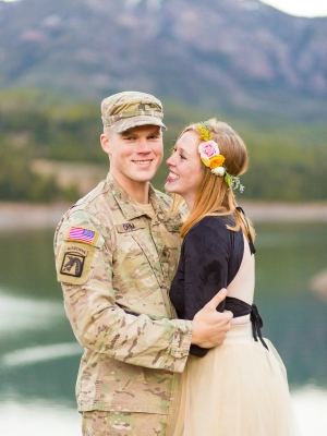 Bozeman Engagement Session in Hyalite - Military uniform and flower crown