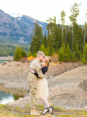 Bozeman Engagement Session - Military couple standing at base of Hyalite Reservoir