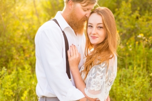 Havre Engagement Session - Couple glowing in sunrise light